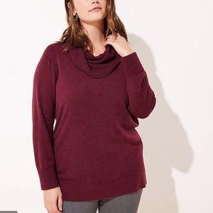 NWT LOFT Plus Cowl Neck Tunic Sweater 24/26 Wine